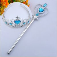 Wholesale magic wand accessories for sale - Group buy 6 colors Princess Headwear Crown Magic wand set Party Cosplay Princess Hair accessories C1600