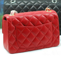 Wholesale Diamond Quilted - Free Shipping New Luxury Brand Classical Lady Bags with Gold Chain Shoulder bag Fashion Women Mini Flap Messenger Bag Red Quilted Handbag
