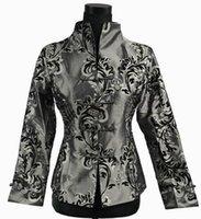 Wholesale Chinese Silk Jackets Women - Wholesale- Faddish Gray Chinese tradition Women Silk Satin Jacket Coat Outerwear M L XL XXL XXXL 2306-1