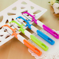 Wholesale High Quality Kitchen Knife Sets - Creative Fruit Knife High Quality Long Handle Multi Function Peeler Family Kitchen Necessary Tool Colourful Hot Sale 0 55yy J R