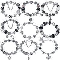 Wholesale Glass Bead Bracelets For Women - BELAWANG Silver Crystal Charm Bracelet 925 for Women Silver Snake Chain & Murano Glass Black Beads Bracelet Authentic Jewelry 18-20cm
