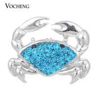 Wholesale Wholesale Nautical - NOOSA Ginger Snap 3 Colors Crystal Nautical Crab Button VOCHENG Vn-1055