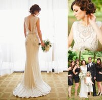 Wholesale Sheath High Neck Wedding Dress - 2017 Jenny Packham Wedding Dresses Crepe Sheath Bridal Gowns with Beading Crystal Summer Beach Vestido De Novia Custom Wedding Gowns