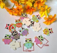 Wholesale Wooden Craft Products Wholesale - 200pcs 2 Holes Mixed Owl Shape Wooden Buttons for Craft Flatback sewing scrapbooking products botoes   botones 23mm*25mm M66763