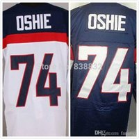 Cheap 2016 Olympic Team Usa Hockey Jersey # 74 TJ Oshie Jerseys Chine Livraison gratuite Broderie Logos