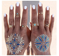 Wholesale Wind Arrow - Retro national wind geometry arrow Elephant Rings Personalized fashion rings Set Turquoise Triangle 3D letter combinations rings