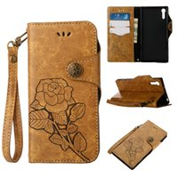 Wholesale Xperia Vintage Case - Vintage Style Rose Flower PU Leather Wallet Cell Phone Case with Lanyard Button Magnetic Closure for Sony Xperia XZ Z5