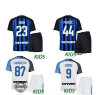 Wholesale Boys Foot Wear - 2017 18 inter kids Soccer jersey CANDREVA ICARDI EDER KONDOGBIA PERISIC Milan full Set Socks 17 18 Maillot de foot football wear