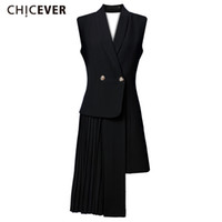Wholesale thin vests for women - CHICEVER Female Vest Coat Skin Waistcoat for Women Cardigan Jacket Sleeveless Long Vests Backless Pleated Patchwork Clothes New