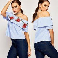 Wholesale 2017 Summer Fashion Sexy Flowers Off The Shoulder Ruffles Striped Women Embroidered T Shirt Short Sleeve Slash Neck Casual tops