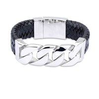 Wholesale Cycle Chain Bracelet - Hot Sale 24mm Wide Real Leather Bracelet&Bangle Bike Cycle Chain Bracelets Stainless Steel Bangles Wristband Men Male Fashion Jewelry
