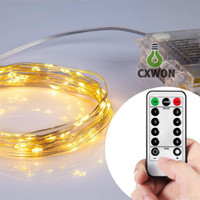 LED String Lights Controle Remoto à Bateria Controle Remoto Cobre Wire Christmas Tree Timer Rope Lighting 16FT 5M 50 leds IP65 Indoor / Outdoor