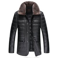 Wholesale Down Jacket Mink Collar - Fall-Leather suede sheepskin coat men genuine leather down coat mink fur turn down collar jacket top quality New Phoenix