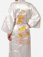 vestido de noche sexy chino al por mayor-Al por mayor-mujeres de seda de satén túnica bordado dragón kimono bata de baño bata de noche túnica de baño bata de moda vestido de vestir para mujeres