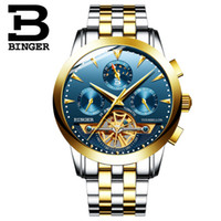 Wholesale Switzerland Watches Automatic - Binger Switzerland watches men luxury brand genuine automatic mechanical Tourbillon watch Man skeleton Moon phase Wristwatch