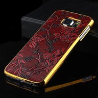 Wholesale Veneer Edging - For Galaxy S7 S6 edge plus note 5 phone case Electroplate Hard Retro Flower Grapes Golden Veneer Gluing Design Shell