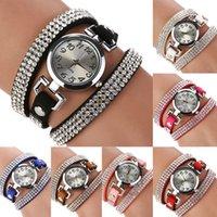 часы наручные оптовых-Hot2015 новая мода горный хрусталь роскошные наручные часы кожаный браслет старинные кварцевые часы женские часы Часы женский подарок e5m1 заказать$18no
