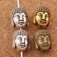 buda para hacer joyas al por mayor-Granos de metal espirituales de buda mezcla colores 150 unids / lote 10.3x8.6 mm plata antigua / oro / bronce espaciador para la joyería que hace la pulsera L1712
