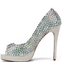Wholesale Beaded Platform Heels - New Bling Crystal Pearls Peep Toe Wedding Shoes 2017 10 CM High Heel Colorful Rhinestone Pearls Platform Women Pumps Evening Prom Gown