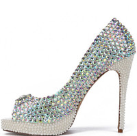 Novo Bling Crystal Pearls Peep Toe Wedding Shoes 2017 10 CM High Heel Colorful Rhinestone Pearls Plataforma Mulheres Bombas Evening Prom Gown
