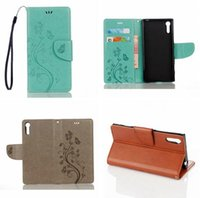 Wholesale Huawei Silicone Case - Flower Butterfly Wallet Flip Leather Pouch Case For Huawei P8 lite 2017 Y6 II Sony Xperia XZ Strap ID Card Stand TPU Skin Cover Luxury 1pcs