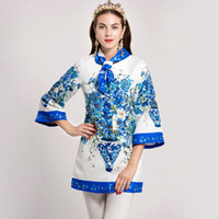Wholesale Trench Coat Scarf - New Arrival 2017 Autumn Women's O Neck 3 4 Sleeves Floral Printed Jacquard Elegant Runway Trench Coats Outerwear with Scarf