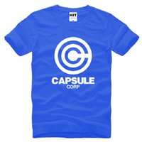 Wholesale Male Dragon Clothing - 2016 Summer Dragon Ball Z Capsule T Shirt Men Short Sleeve Cotton Capsule Corp Printed Male T-Shirt Cartoon Men Clothing Tops Tees Big Size