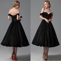 Wholesale Cheap Coral Dresses China - Vintage 2016 Black Tea Length Bridesmaid Dresses Cheap Sweetheart Off Shoulder Ruched Short Party Prom Gowns Custom Made China EN9279