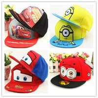 Wholesale Minion Snapback Kids Hat - Kids Minions Snapback Cartoon Boys Girls Hip-pop Hats Basketball Caps 12 Designs Mix Wholesale Children Hat