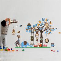 ingrosso i gufi delle stanze del bambino-Grande albero animale adesivi murali per camera dei bambini decorazione scimmia gufo volpe orso zoo adesivi cartoon fai da te per bambini casa del bambino decalcomania murale art