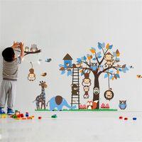 großes tiermalerei großhandel-Große baum tier wandaufkleber für kinderzimmer dekoration affe eule fuchs bär zoo aufkleber cartoon diy kinder baby abziehbild wandkunst
