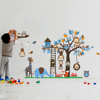 Wholesale Kids Fox Wall Decals - Large Tree Animal Wall Stickers for Kids Room Decoration Monkey Owl Fox Bear Zoo Stickers Cartoon DIY Children Baby Home Decal Mural Art