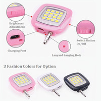 Wholesale Mini Flashing Leds - Universal 3.5mm Jack Mini Flash Fill-in Light with 16 Leds for iphone Samsung all Smartphone, Pocket Spotlight dimmable 3 brightness modes