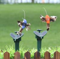 argila do pássaro venda por atacado-Beija-flor Solar Ao Ar Livre Dinâmico Pássaro Jardim Decoração Multi Cor Para Simulação Aves De Penas Artes E Ofícios 9lla C RW