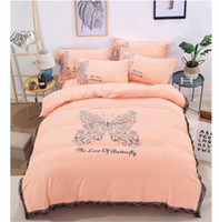 Wholesale Home Silver Cleaner - New double bed tide brand series Butterfly printing comfortable high quality simple lace bedding Queen size 4 pcs