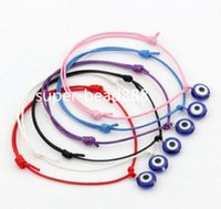 Wholesale Evil Eye Rhinestone Bracelet - Free Ship 100pcs Hamsa String Evil Eye Lucky Red wax Cord Adjustable Bracelet