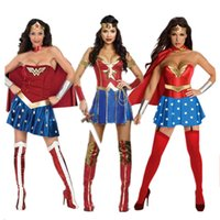 wonder woman costume toptan satış-Toptan Yetişkin Kadın Cadılar Bayramı Wonder Woman Cosplay Seksi Kostüm Süper Kahraman Fantezi Elbise Ile Pelerin Ücretsiz Kargo
