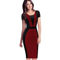 Wholesale Casual Modest Party Dress Xl - 2017 lcw Womens Elegant Optische Illusie Colorblock Contrast Modest Slim Werken Business Casual Party Schede Potlood Jurk