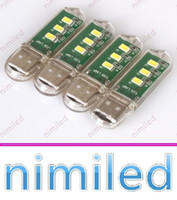 Wholesale Super Small Led Lights - nimi1003 Super Bright Mini 3LED 2.3W 5V USB Hostel Computer Desk Lamps Small Night Light Mobile Power Keyboard USB Lights Board Lighting