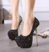 Wholesale White Sequin Prom Shoes - New Women High Heels Fashion Gradient Color Sequins Party Prom Shoes Sexy Nightclubs Thin Heel Bridal Shoes Wedding Dress Shoes