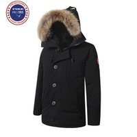 Wholesale Downs Long Coat - Big raccoon Fur 2017 Brand New Mens thick Goose Down Fire Rhinoceros CHATEAU Parka Coat Winter Warm Jacket