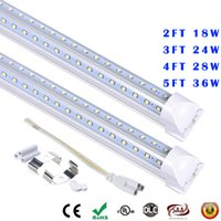 Wholesale T8 9w - 4ft 5ft 6ft LED Tube Light V Shape Integrated LED Tubes 4 5 6 8 ft Cooler Door Freezer LED Lighting CE UL