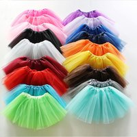 Wholesale Multicolor Tutus - Multicolor Girls Classic Elastic Shining Tutu skirt kids Cute Bubble Skirt Performance princess lace skirt Ballet pettiskirt