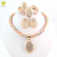 Wholesale vintage wedding costume jewelry - Women Dubai Vintage Luxury Crystal Oval Design Necklace Earrings Rhinestone Wedding Bridal African Costume Jewelry Sets