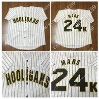 Wholesale K L - Hooligans Bruno Mars 24 K Bianco Awards Gessato Baseball Jersey di Ritorno Al Passato Per Gli Uomini Stripe Cucito Button Down Glod
