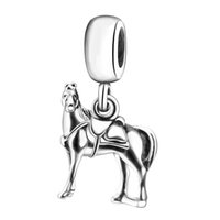 Wholesale 925 Sterling Horse Pendant - 2016 New Fashion Horse Pendant Charm 925 Sterling Silver European Charms Beads Fit Pandora Bracelets Snake Chain Bangle DIY Jewelry