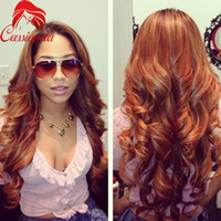 Wholesale Wavy Light Auburn Wig - 33# Auburn Wavy Lace Wig Human Hair Glueless Full Lace Wigs with Baby Hair Peruvian Virgin Hair Lace Front Wigs Natural Hairline