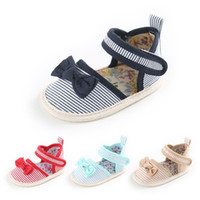 Wholesale baby girl cute sandals resale online - Striped Bowknot Princess Shoes Infant Anti Slip Sandals Cute Baby Girls Shoes M