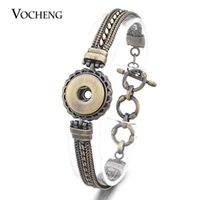 Wholesale Multi Colors Bracelet - VOCHENG NOOSA Ginger Snap Bracelet 2 Colors 18mm Button Antique Multi Chain NN-450