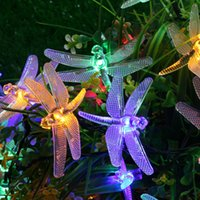 Wholesale Energy Star Led Wholesale - Hot Outdoor Dragonfly Solar String Lights 20LED Dragonfly Energy Saving Solar Fairy LED String Light Lamp for Christmas Garden Patio Wedding